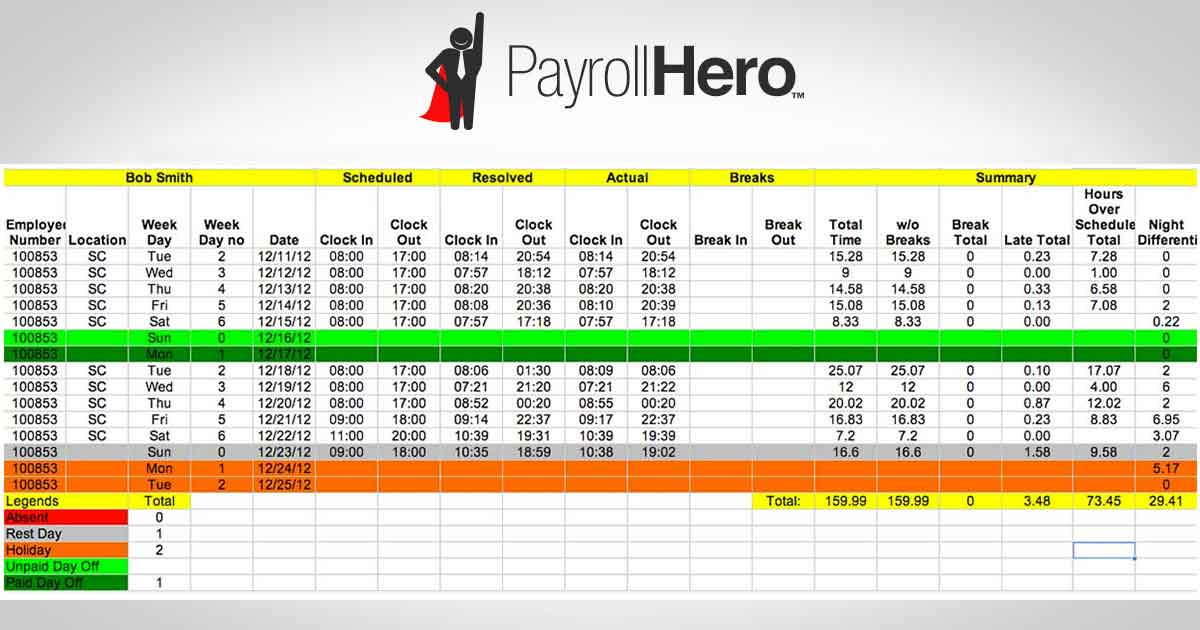 sample payroll sheet excel Template – Payroll Template